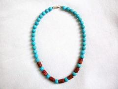 Necklace Turquoise Howlite Natural Red Sea Coral