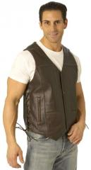 First Classics Men's Brown Leather 10 Pocket Vest