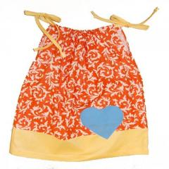 Chocolate Soup (Hearts for Haiti) Orange Pillow Case Dress
