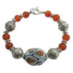 Fall color orange carnelian w/ Kashmiri bead