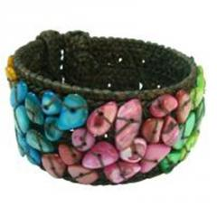 Cotton cuff bangle multicolor nuggets bracelet