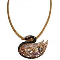 Glittered duck pendant necklace