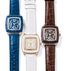 Square Faux Croc Strap Watch