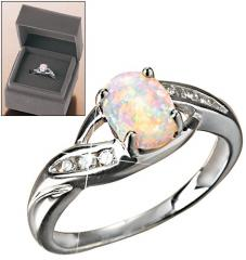 Sterling Silver Created Opal Ring in Gift Box