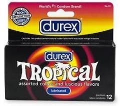 Durex Tropical Assorted Colors & Luscious Flavors Condoms 12-pack
