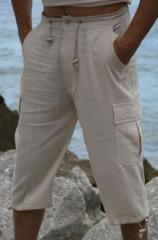 Mens Bohio Cotton Gauze Capri Beach Pant