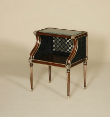 Charleston Mahogany Finished Occasional Table, Rattan and Gilded Accents, Inset Glass