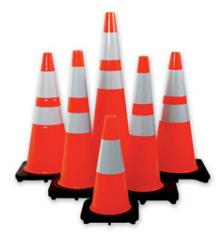 "28"" Orange Traffic Cone w/Black base (Ctn"