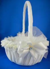 Chiffon Flower Flower Girl Basket with Jewel