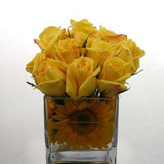 Yellow roses and sunflowers