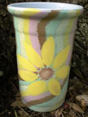 Hand Painted Vase with Big Daisy