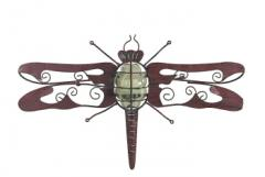 Set of 2 Dragonfly Wall-Mounted Tealight Lanterns Tin, Glass