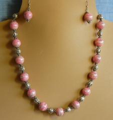 Rhodochrosite and Bali Silver Necklace Set