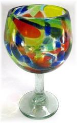 Large Balloon Wine Glass, 16 oz. Solid Confetti, Hand blown glass from Mexico