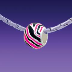 Hot Pink Wide Tiger Print - Triple Silver Plated