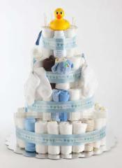 4 Tier Large Classic Cake - Boy Diaper