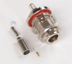 N Jack Female Bulkhead Crimp Connector for Cable Types: AIR802 CA100, Times Microwave's LMR100, RG316/174/188