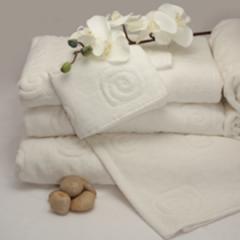 Organic Cotton Velour Bath Towel White Swirl