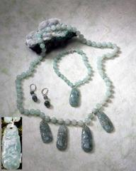 Antique Jade Drops and Aventurine Necklace