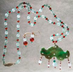 Antique Jade Ornament with Aventurine Necklace