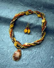 Autumn Medley Torsade Necklace and Earrings