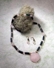 Fancy Jaspar and Rose Quartz Necklace and Earrings