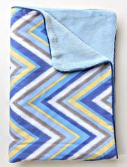 Blue Chevron Piped Blanket