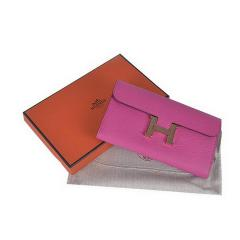 Constance Long Wallets Pink Calfskin Leather Gold