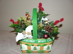 Green and White Merry Christmas Basket