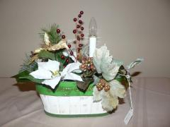 Green and White Christmas Basket with Candle