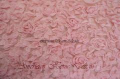 Dusty Rose Color Knit Rosette Fabric