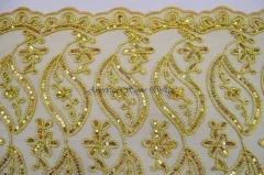 Gold Bridal Scalloped Lace With Gold Sequin