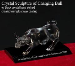 Bull - crystal statue