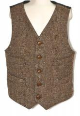 Boys Vest, 100% wool brown tweed, cotton lined