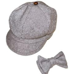 Newsboy hat and bowtie set, wool tweed brown and