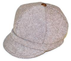 Child size newsboy hat, wool tweed brown and white