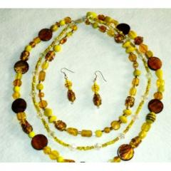 Cheerful Yellow Stone 3 strand Bead Necklace and