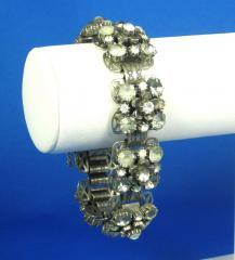 Vintage Florenza Grey Rhinestone Floral Bracelet