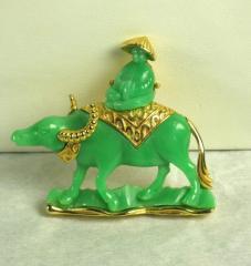 Hattie Carnegie Green Plastic Oriental Man on