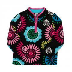 Black Flower Fleece Pullover