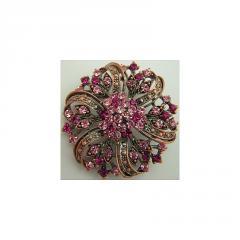 Pink and Rose Topaz Swarovski Antique Brooch
