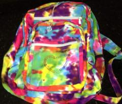 Tie Dye Multi Color Backpack With Sparkly Heart