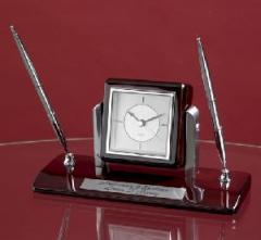 Ebony Piano Wood Duel Clock & Pen set