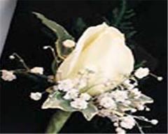 White Premium Rose Boutonniere