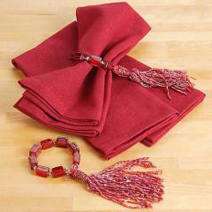 Cranberry Glitter Napkin Set