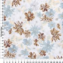 Neutral Floral Linen Look Fabric