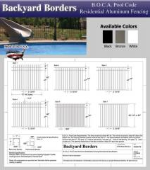 B.O.C.A. Pool Code Residential Aluminum Fence
