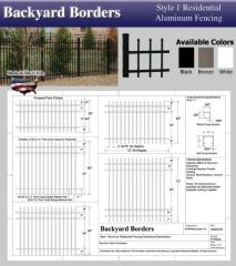 Style 1 Residential Aluminum Fence Sections