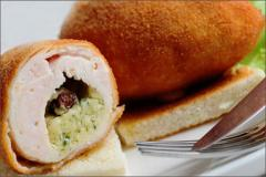 Breaded, Raw Stuffed Chicken Kiev