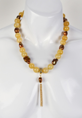 Yellow Jade & Golden Brown Freshwater Pearl Necklace